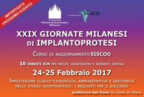 24-25 febbraio 2017: XXIX Giornate milanesi diimplantoprotesi